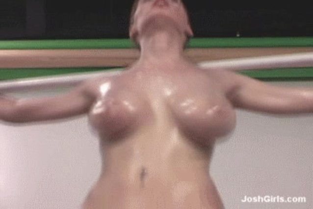 Breasts bouncing while running