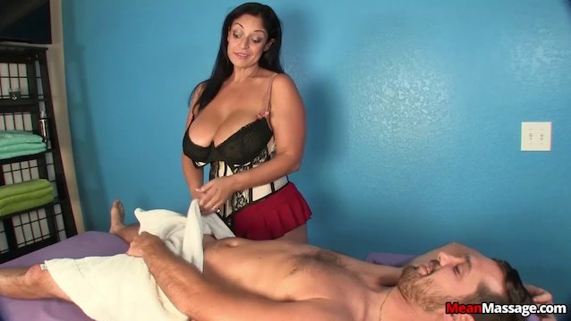 image Old busty lady tugging hard cock pov