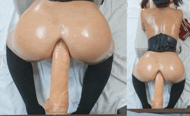 Huge natural tits solo dildo