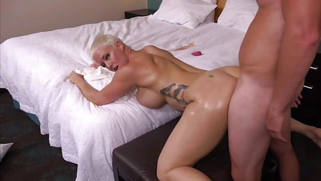 Busty short haired blonde having sex and the