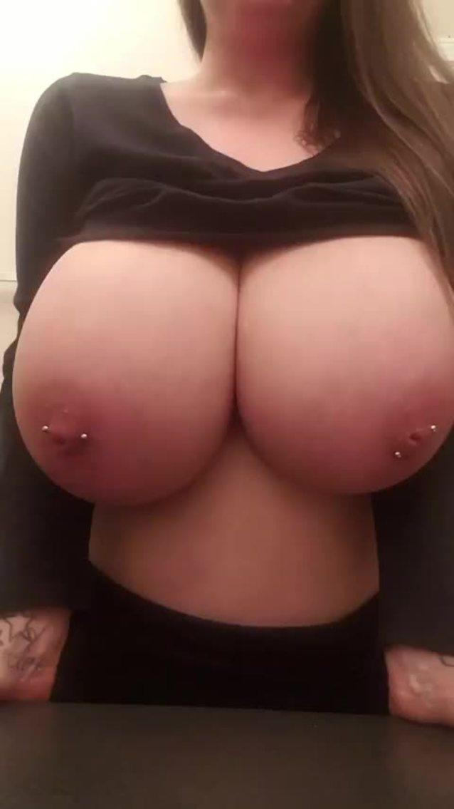 Huge Natural Pierced Tits