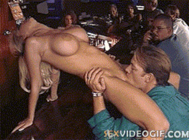 Teasing guys in a public bar ends up as a forced blowjob, for busty blond bitch