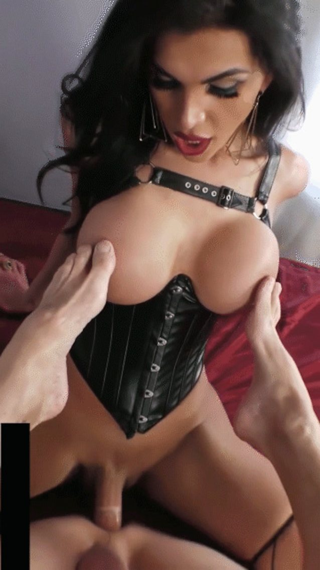 Girl in white corset gets fucked